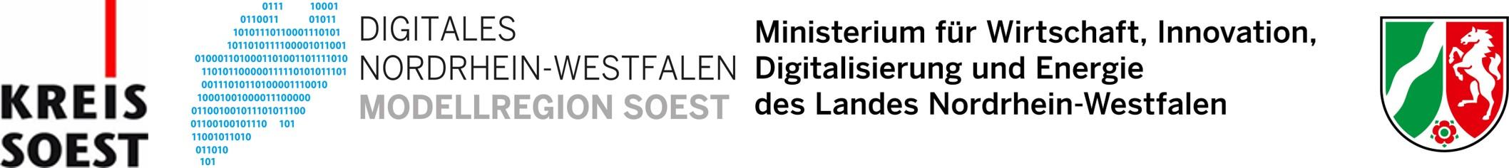 Logos Kreis Soest, Digitales NRW, Ministerium für Wirtschaft, Innovation, Digitalisierung und Energie NRW